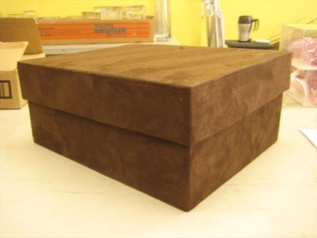brown suede box with removeable lid