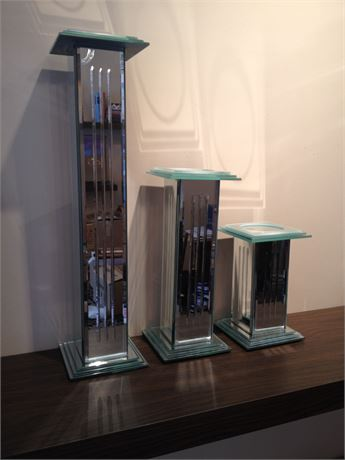 Mirrored art deco pillar candle holders